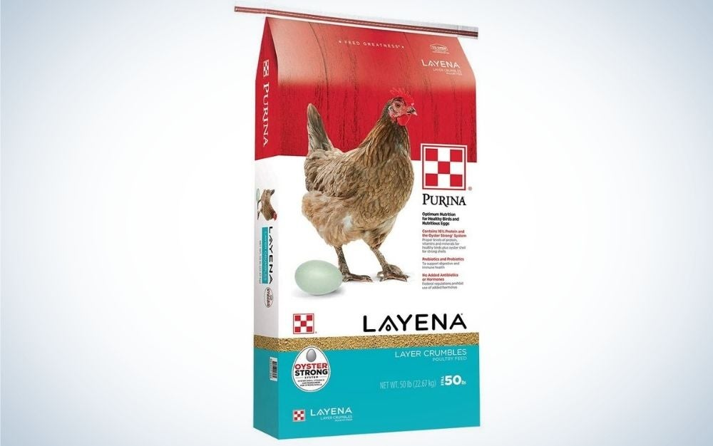 A three colored pack with nutritionally complete layer hen feed crumbles in it.