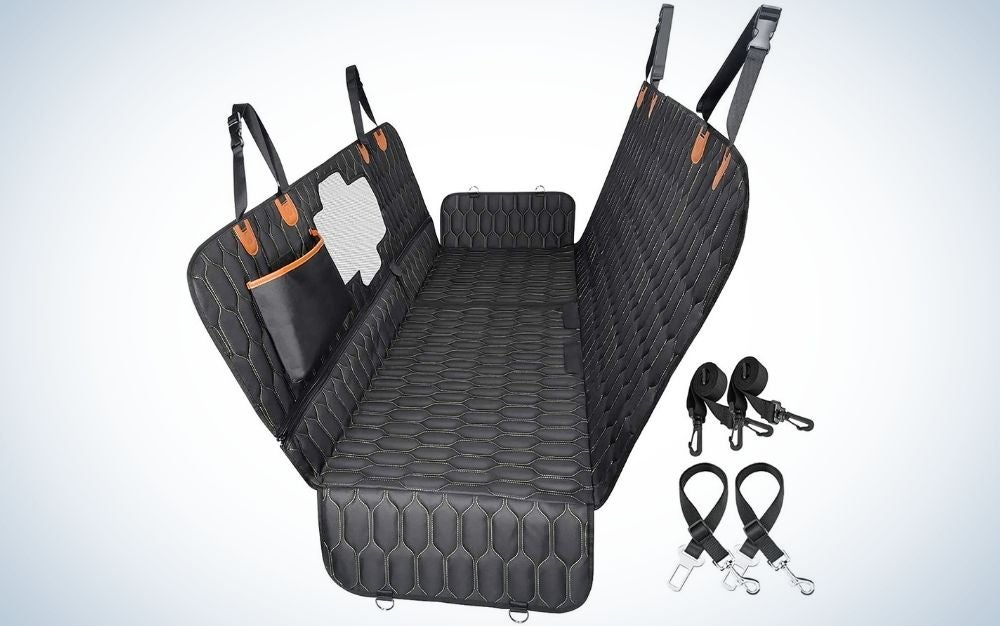 A black car seat cover with mesh window two seat belts , a nonslip dog seat cover for back seat protector for cars trucks.