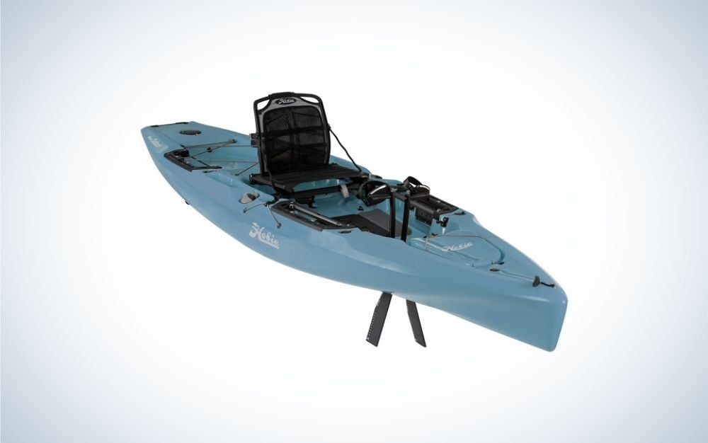 A blue kayak with a black seat and only one place to sit.