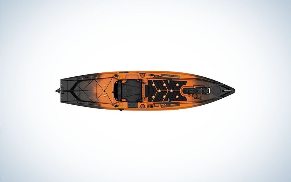 A modern black and orange high-tech fishing machine from the top of it.