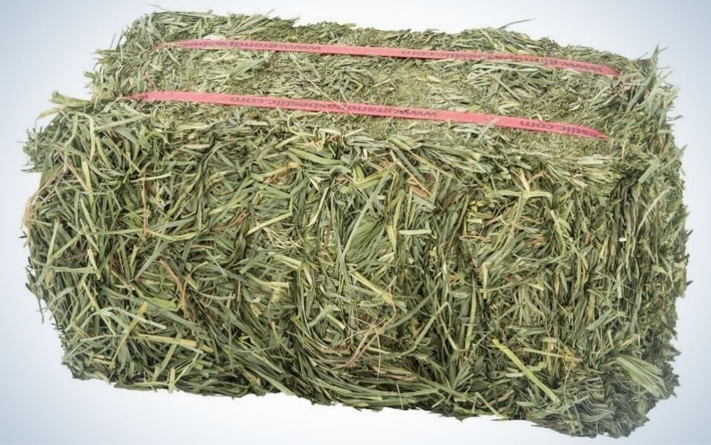 A bunch of grass wrapped in a rectangular shape with two pink ties on top of them.