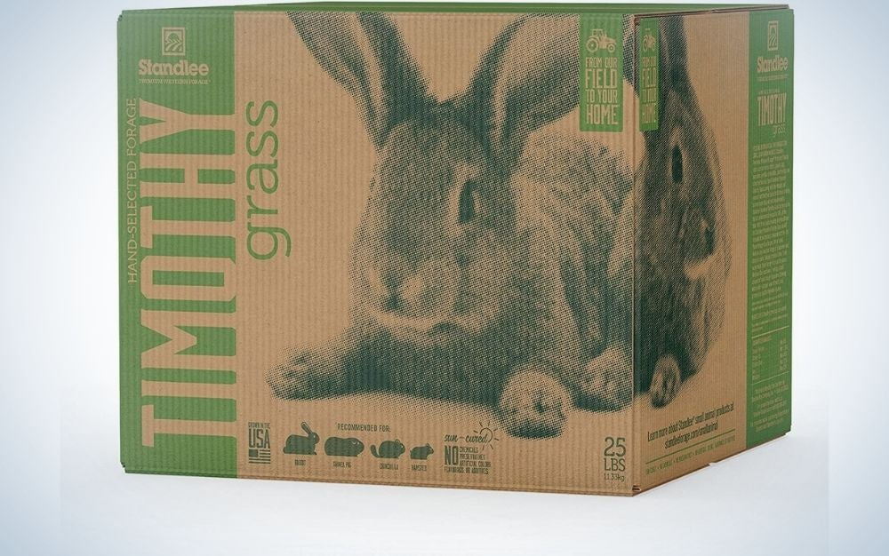 A Timothy grass large cardboard box with a rabbit pictured into the box.