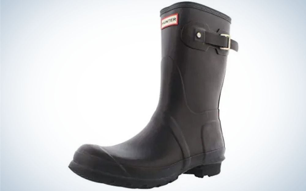 Black rubber sole boots from side.