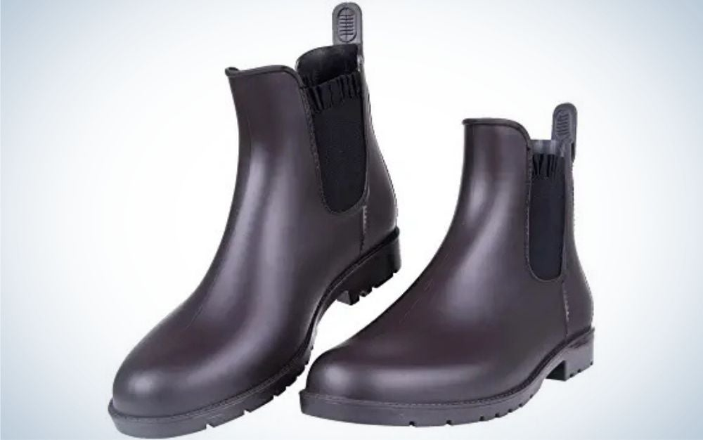 Perfect brown matte rubber sole material ankle boots from side.