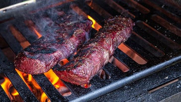 Wild game backstraps seared on a grill.
