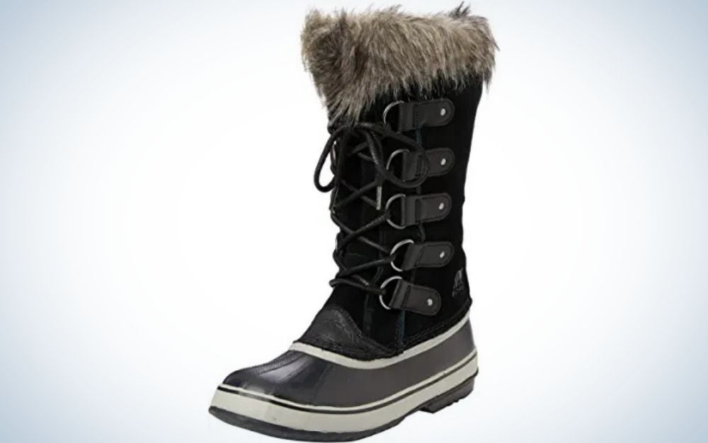 Black and quarry lace up closure boots with faux-fur cuff from side.