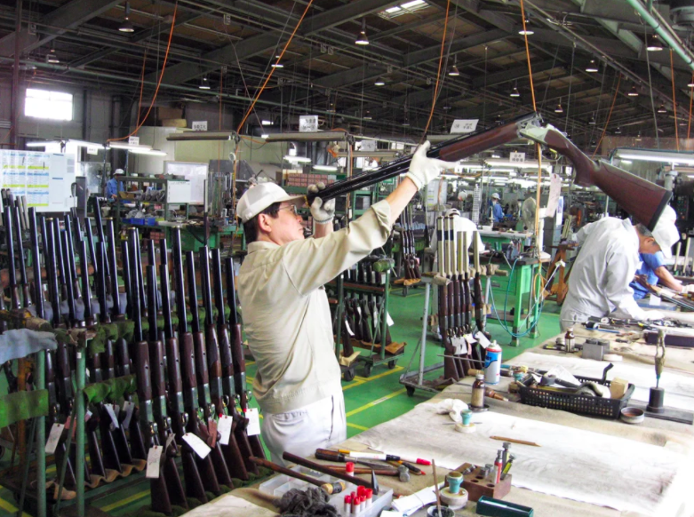 There's a lot fo old-fashioned gun making that still goes on at the Miroku plant in Japan.