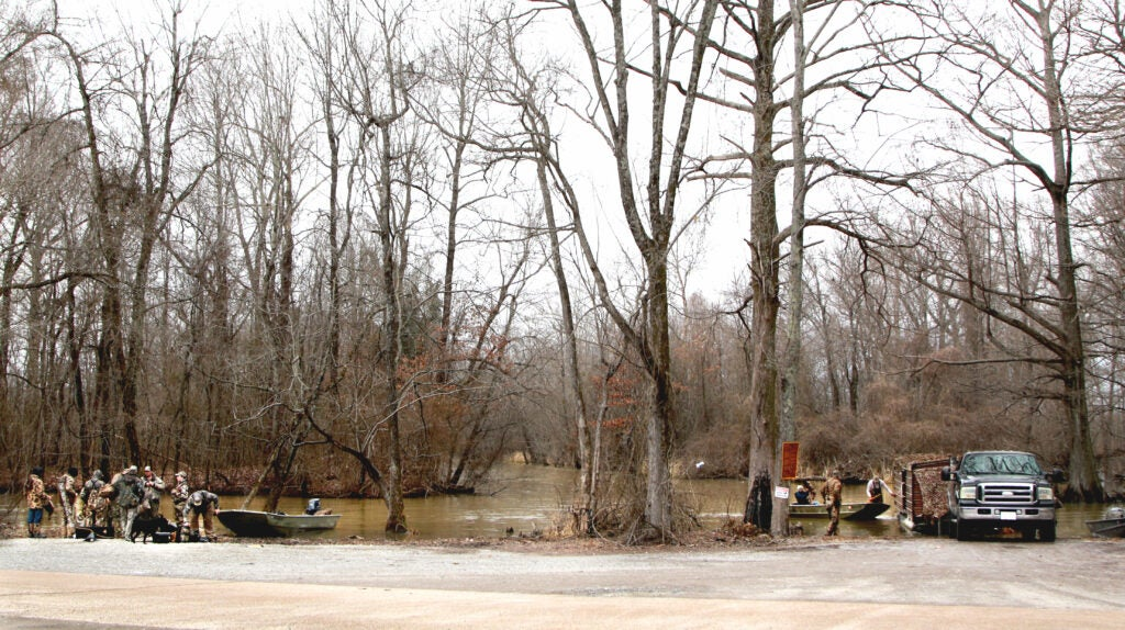 The Walnut Log Ditch boat ramp, used by Reelfoot Lake duck hunters.