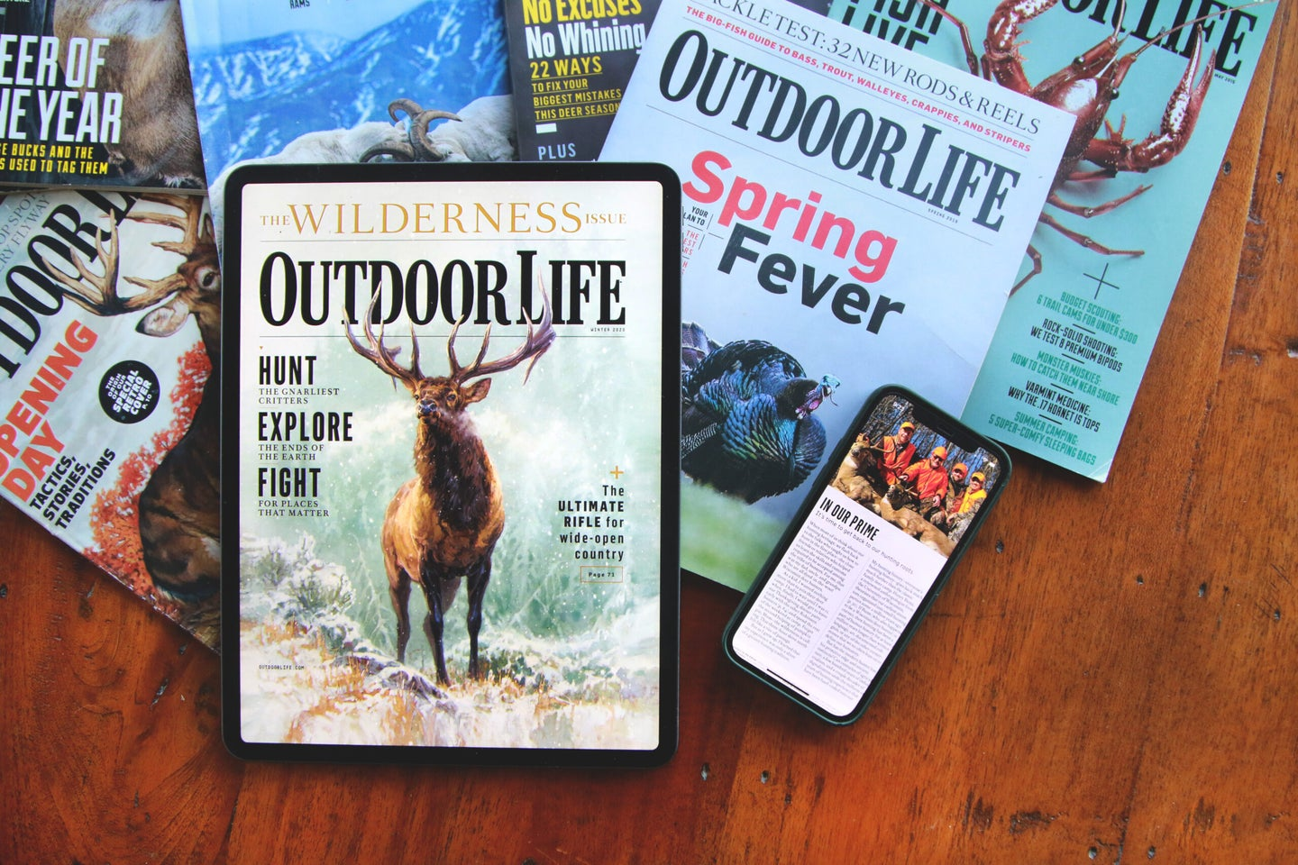 Outdoor Life digital editions on tablet and mobile.