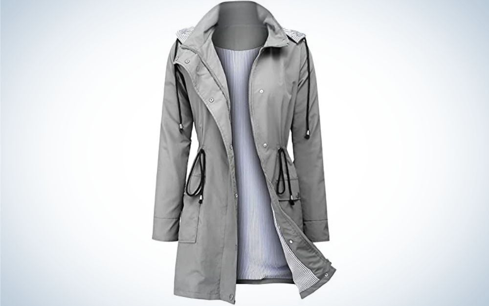 A light and shine blue rain jacket with hood and black laces on the hood and pockets.