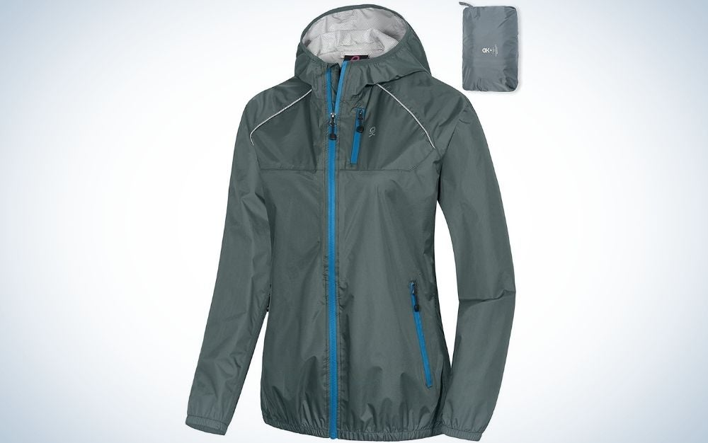 A dark grey rain cycling bike jacket with a blue chain and with hood.