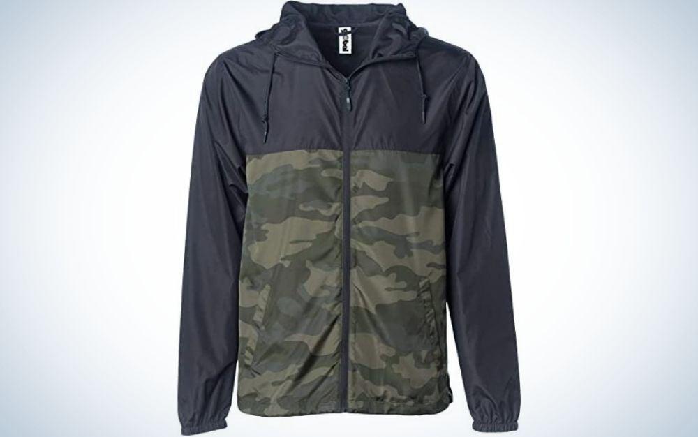 A half dark blue and half military color lightweight windbreaker winter jacket water resistant shell.