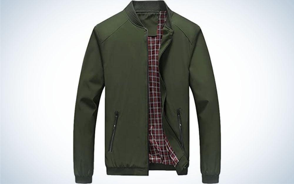 A dark green lightweight winter and rainy jacket for men.