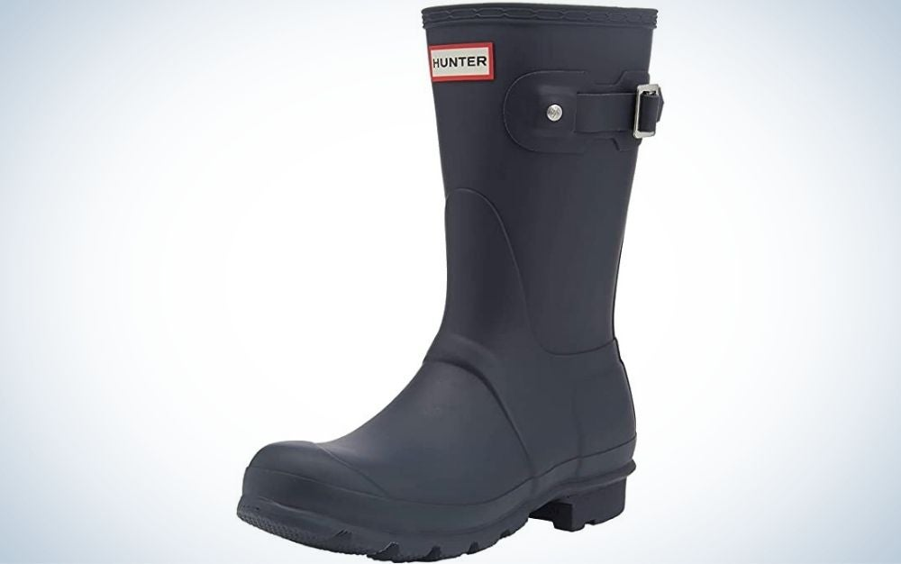 A completely black boot with a strong rubber band and a red inscription on the top of the boot.
