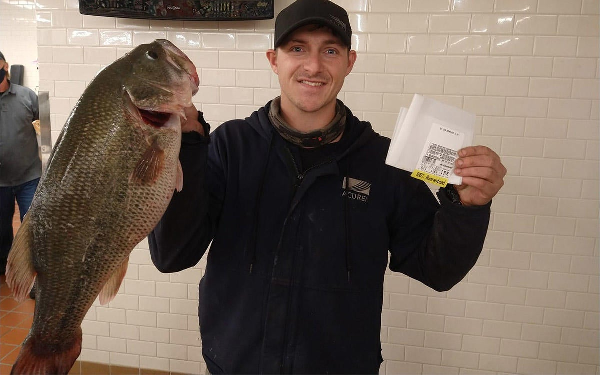 Angler's First Bass Ever Is Also a State Record Fish