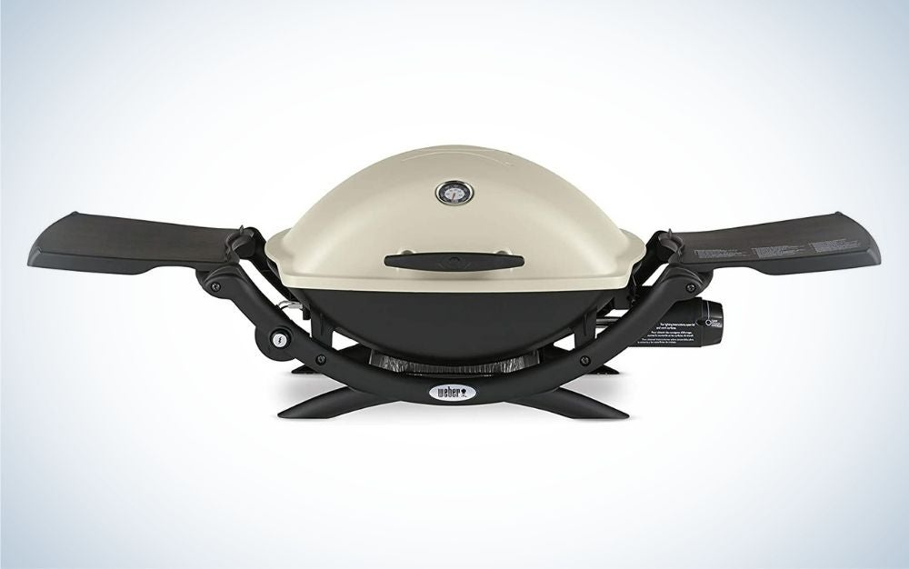 Gray and black, aluminum portable grill father's day gifts for the dad who loves to grill