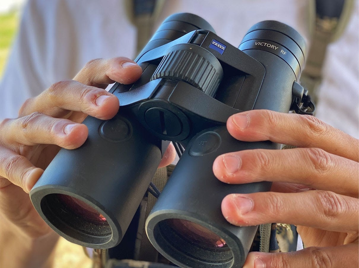 Pair of hands holding black binoculars