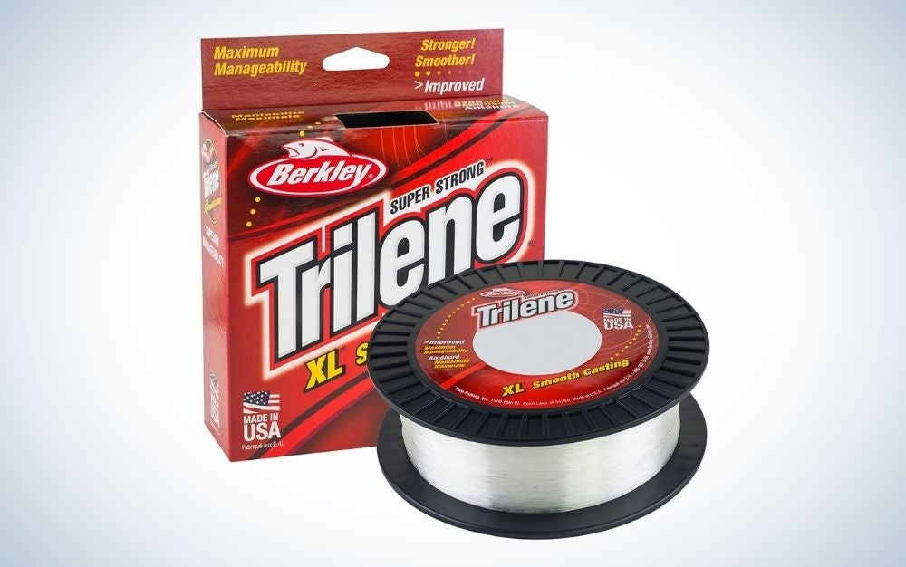 Berkley Trilene clear plastic fishing line and a red box next to it