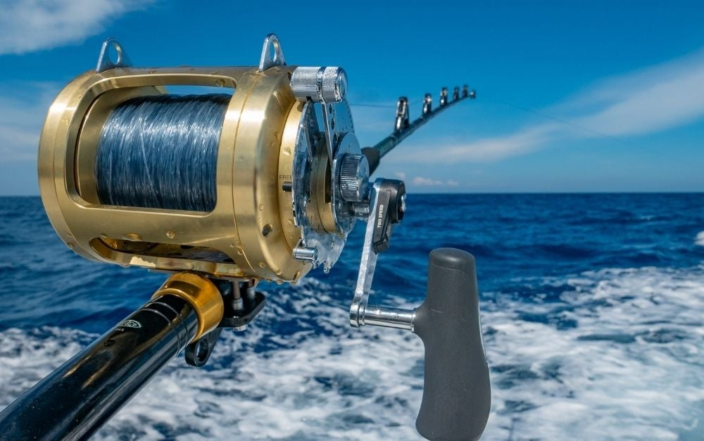 A fishing reel spooled with mono fishing line