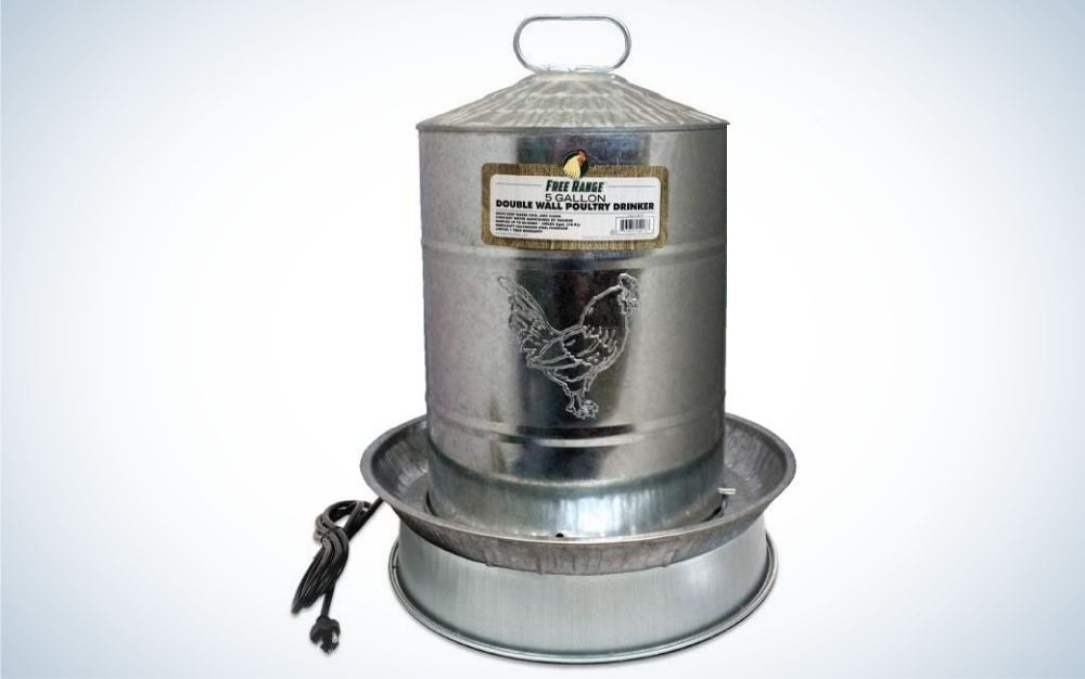 Silver water heater for chicken coop
