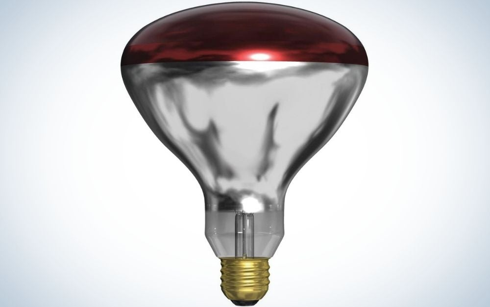 A single lamp with three colors, red on top, gray in the middle and gold at the bottom.