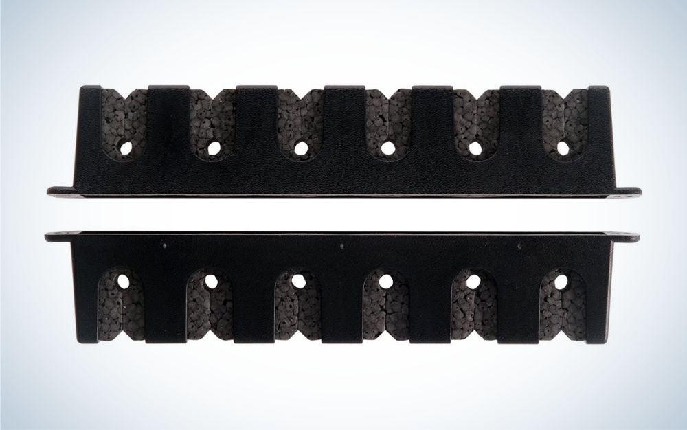Horizontal, black, plastic fishing rod rack