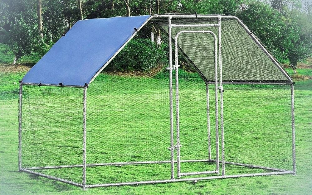 Large walk-in, metal rabbit run with waterproof cover on a backyard