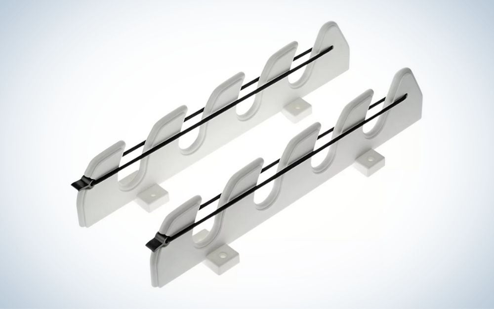White and black fishing rod rack for boats