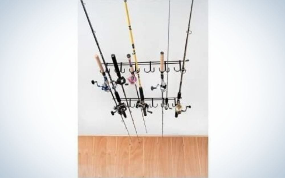 Steel overhead fishing road rack
