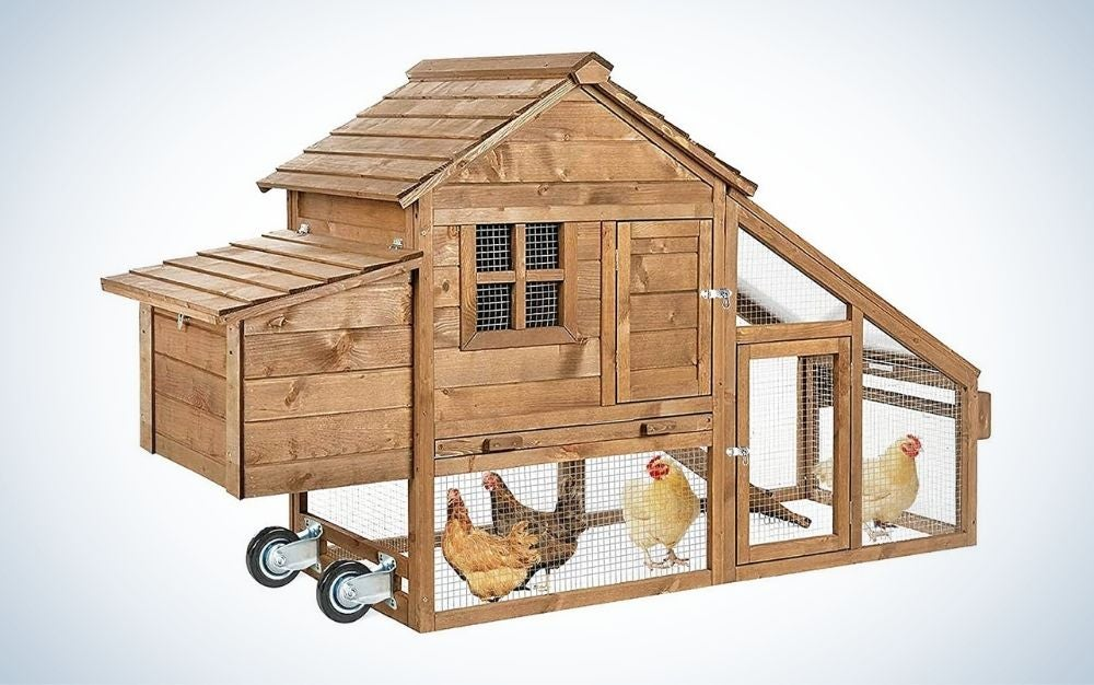 Brown stainless steel chicken coop with movable wheels