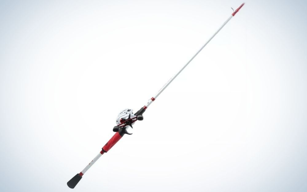 Red, black, and white Baitcast rod and reel combo