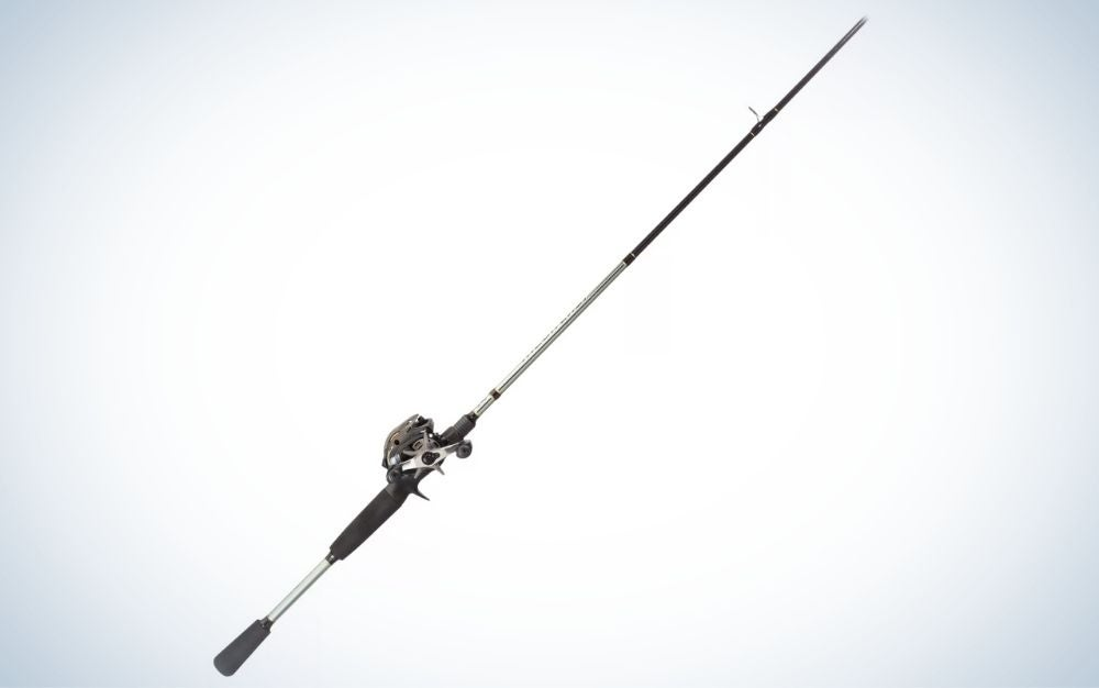 Black and gray Megacast rod and reel combo