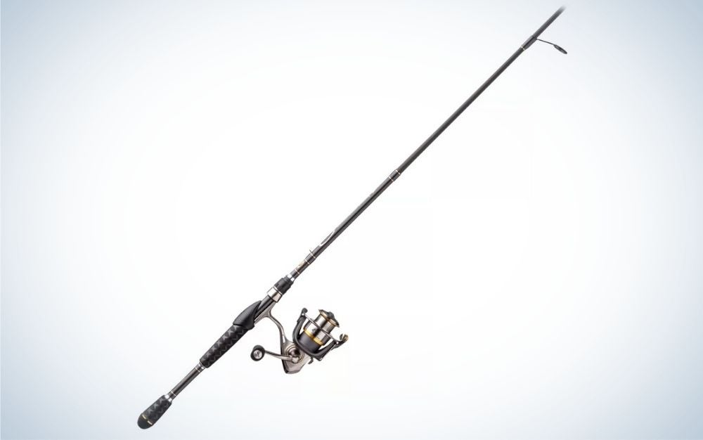 Black two spinning rod and reel combo on aluminum body and side cover