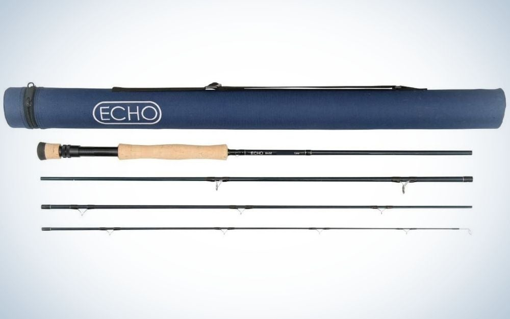 Three fishing rods with different lengths and black and wooden colors as well as a bag with the brand name of the company of this fishing rod.