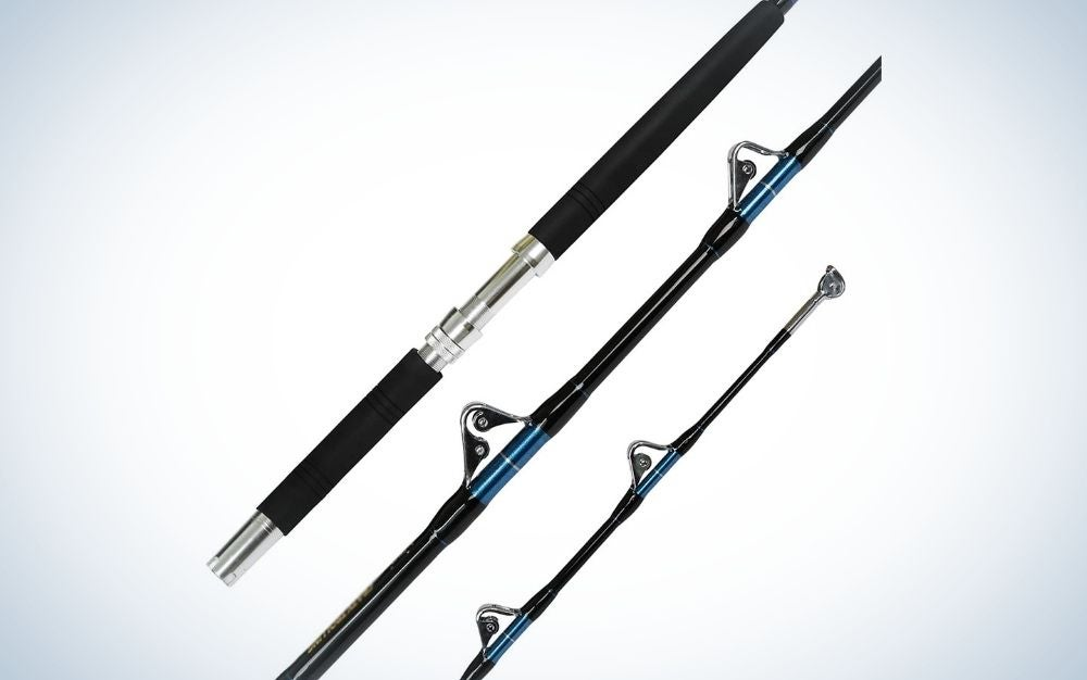 A trolling fishing rod with three different shape sticks but the same color black and silver.