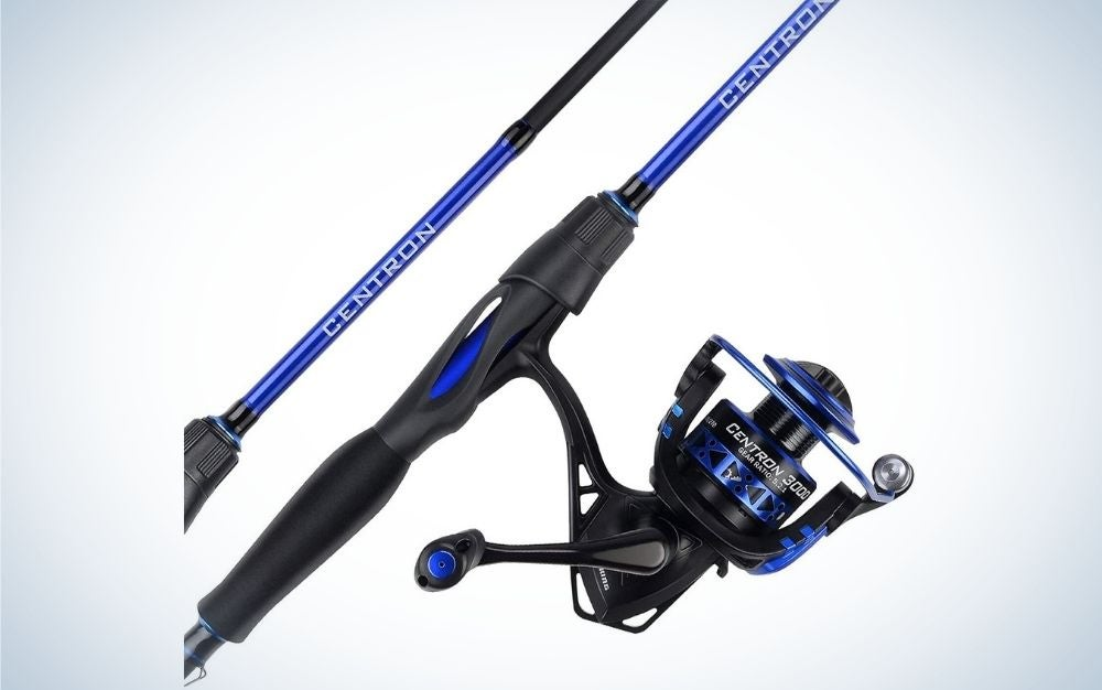 A spinning reel called Centron and in black and solid blue.
