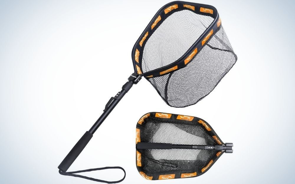 A large floating fishing net for steelhead in a black color with orange lines around the net, captured from above and behind of it.