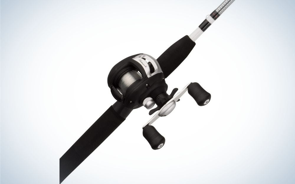 A spinning reel in black and solid white color.