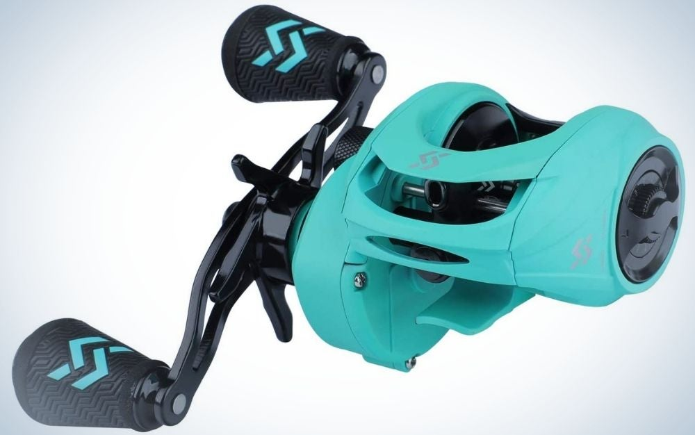 A very complex spinning reel in the form of a machine with different shapes and two propellers but all in black and light blue.
