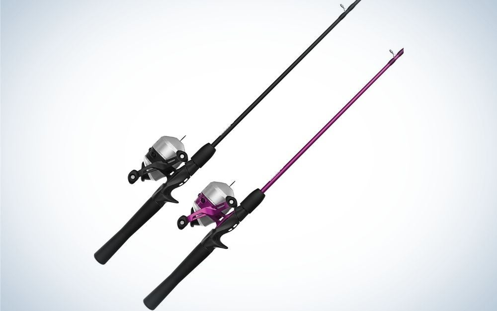 Two baits for fishing, one black all over and the other black sticker with purple fishing reel.