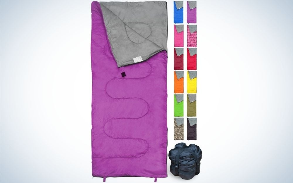 Purple camping sleeping bag for kids