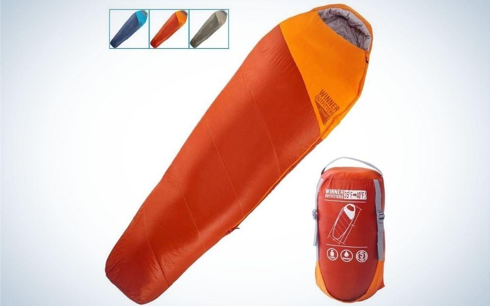 Orange camping sleeping bag
