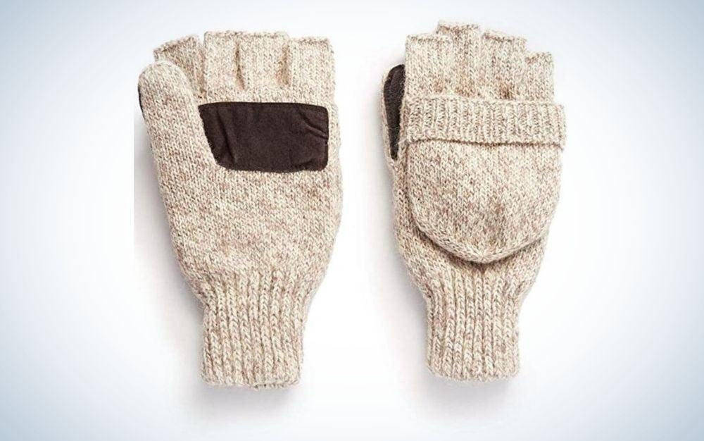 Oatmeal, wool fingerless pop-top mittens