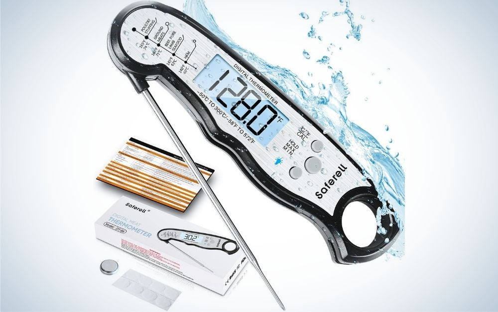 Black digital food thermometer with backlight, magnet, calibration, and foldable probe prime day deal