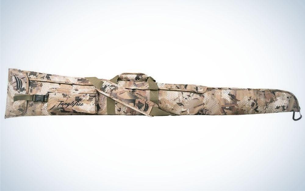 Camo pattern, adjustable shoulder strap floating gun case