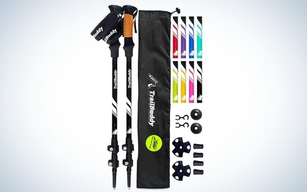 Purple, aluminum adjustable hiking or walking sticks with cork grip and padded strap