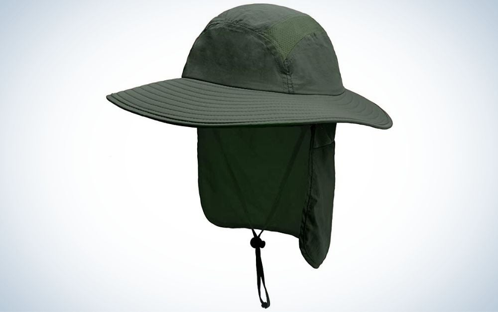 Army green, sun protection fishing hat with neck flap the best father's day gifts
