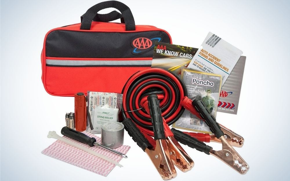 A red bag, some pliers and screwdrivers, and a red twisted wire.