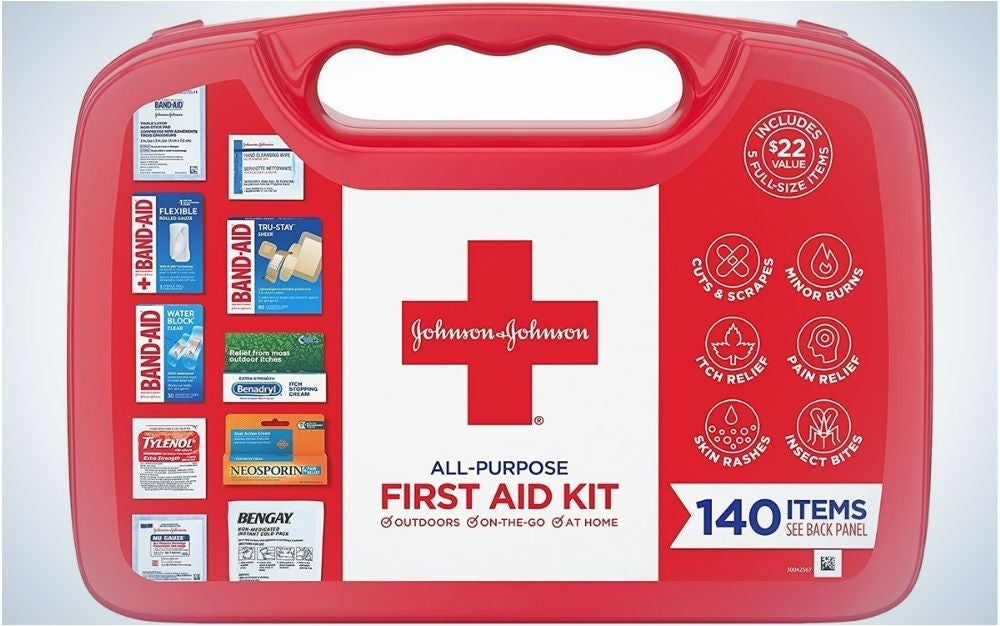 An ambulance box with all the ambulance products in it as well as with the brand name Jonson & Jonson.