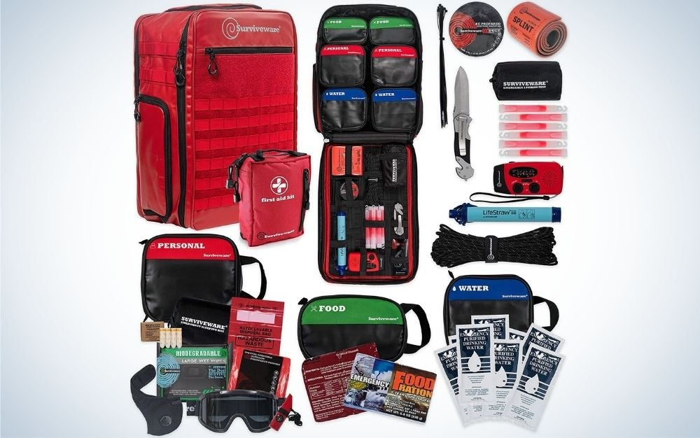 Some bags with different sizes and different colors as well as with an ambulance service package.